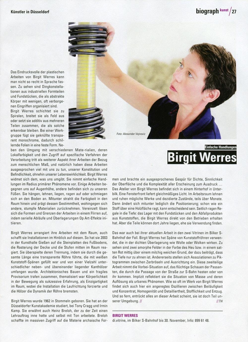 Künstlerportrait von Birgit Werres fotografiert vom Fotograf Alexander Vejnovic - erschienen im Biograph, Düsseldorf